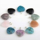 Gemstone pendant (necklace pendant) heart 20mm (lot of 10 different kinds)
