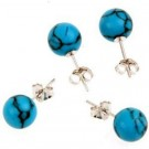 Howlite (treated) bead ear stud 925 sterling silver 8 mm (10 pair)