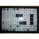 Gemstone case with 77 stones