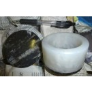 Orthoceras/Agate box with lid, black/white, 9 cm 1 piece
