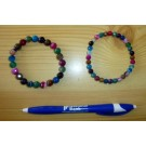 Wrist band with coloured agate, facetted spheres, 8 mm, 1 piece