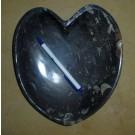 Orthoceras plate, heart-shaped, black, app. 25 cm, 1 piece