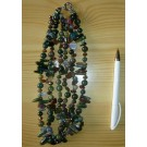 Necklace 45 cm with 3 strings, moss agate with zirconia, 1 piece