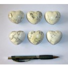 Heart made of howlite/magnesite, untreated, app. 4 cm, 10 pieces