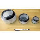 Orthoceras/Selenite candle ligth medium, black/white, app. 8-9 cm, 1 piece