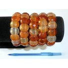 Wirstband with carnelian agate elements, rectangular, faceted, 10 x 10 mm, 1 piece