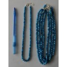 Necklace with 6 mm apatite spheres with sterling silver lock, 45 cm long, 1 piece