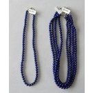 Necklace with 6 mm lapis-lazuli spheres with sterling silver lock, 45 cm long, 1 piece