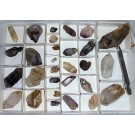 Amethyst X (+ 1 x Enhydro), Brandberg, Namibia, 1 flat with 29 pieces