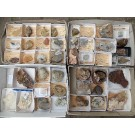 Calcite collection with old lables, worldwide, 4 flats