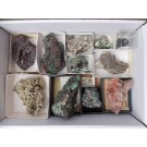Tsumeb minerals from an old collection, 1 flat with 12 specimen