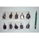 Amethyst-cluster, electroplated (silver), with tumbled stone