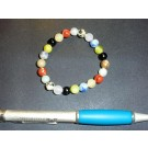 Wrist band, mixed stones - colourful, 8 mm spheres, 1 piece