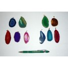 Agate-slice with metal clip (golden/silver) 10 pieces
