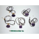 Amethyst-cluster, electroplated (golden/silver), necklace, 10 pieces