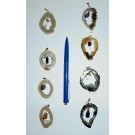 Agate geode-slice pendant with swinging crystal, golden + silver setting, 10 pieces