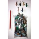 Stone pendulum pendant, pentagonal, small, mixed, 100 pieces