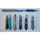 Stone pendant, large, blue glitter, 1 piece