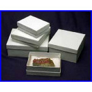 "3 1/2 x 2 1/2 x 3/4"" 2 white cottone lined specimen & jewelry boxes. Case of 100."