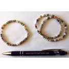 Wrist band, Botswana agate (faceted) and real silver sphere, 4 mm spheres, 1 piece