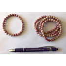 Wrist band, thulite, 6 mm spheres, 1 piece