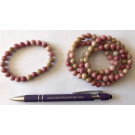 Wrist band, thulite, 8 mm spheres, 1 piece