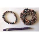 Wrist band, rhodonite, 8 mm spheres, 1 piece