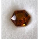Glass doublet hexagonal, orange, 6 mm