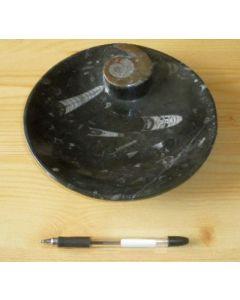 Ammonite plate, round, black, 25 cm. 1 piece