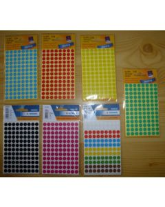 Adhesive lables (dots) multicolour, 8 mm diameter, 1 small package