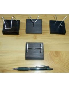 """Wooden stand with bending display made of real silver! (""""U""""-shape)"""