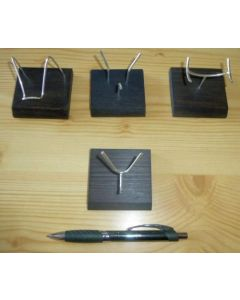 """Wooden stand with bending display made of real silver! (""""V""""-shape)"""