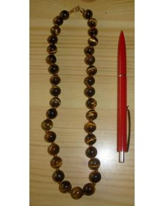 Necklace with 10 mm tigers eye spheres, 45 cm long, 1 piece
