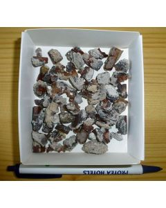 Topaz crystals on little matrix, Mexico, 1 boxed flat
