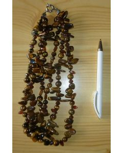 Necklace 45 cm with 3 strings, tigers eye with zirconia, 1 piece