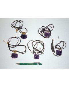 Amethyst-cluster, electroplated (golden), necklace