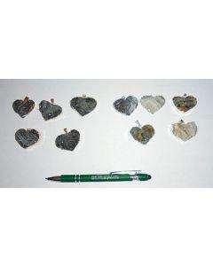 Druzy Quartz geode, electroplated (silver), pendant, heart