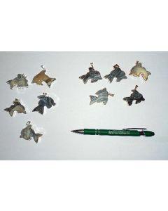 Druzy Quartz geode, electroplated (silver), pendant, dolphin