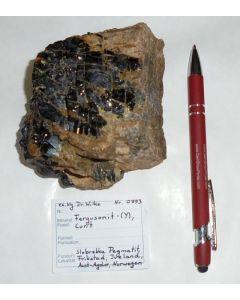 Fergusonite - (Y) (xx); Slobrekka Pegmatite, Frikstad, Iveland, N; HS