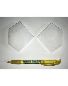 Selenite, white, Chakra disc, 7 cm, pentagon, 10 pieces