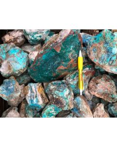 Dioptase, Shattuckite, Chrysocolla (mine run); Kaokoveld, Namibia, 100 kg