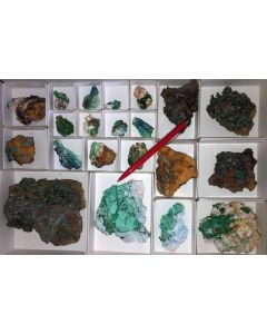 Mixed minerals of high quality, Laurion, Greece, 1 flat (#1)