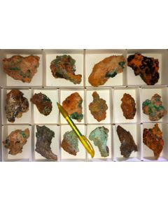Azurite/Malachite pseudomorphs xx, Hilarion Mine, Laurion, Greece, 1 flat