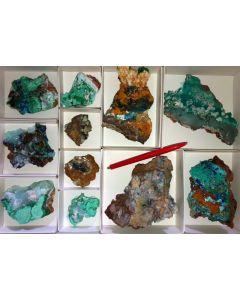 Azuritexx, Aurichalcit, Gibbsit, Hilarion Mine, Laurion, Greece, 1 flat