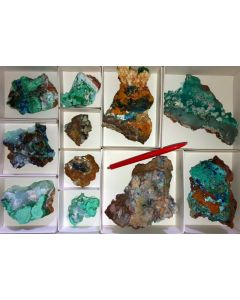 Mixed, colourful crystal specimen from Laurion, Greece, 10 flats