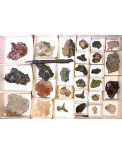 Tsumeb minerals from an old collection, 1 flat with 27 specimen