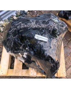 Obsidian (black, lace + silver, gemmy!) Armenia, 280 kg