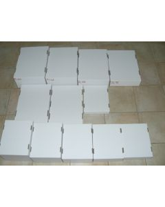 white corrugated card board flats (folding typ, half size) 3.0 inch tall, 10 pieces