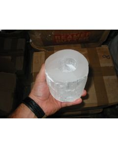 Selenite tealight, candle ligth holder, white, round, rough, 1 piece